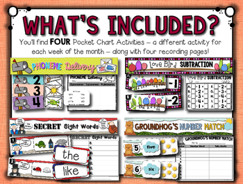 February Pocket Charts --- Four Math and Literacy Pocket Charts for February