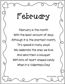 February Poem Printable by Ms Mal's Munchkins   Teachers Pay Teachers