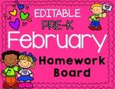 February Pre-K Homework Board (EDITABLE)