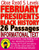 26 CLOSE READING LEVEL PASSAGES Presidents Black History February Valentine's
