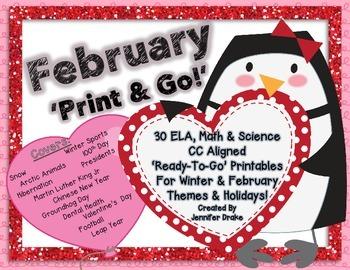 February 'Print & Go!' 30 Printables for Winter Holidays for ELA, Math & Science