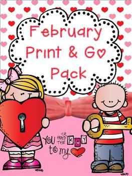 February Print & Go No Prep Pack (CCSS)
