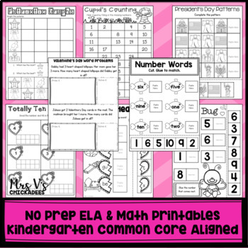 February No Prep Phonics and Math Worksheets for Kindergarten