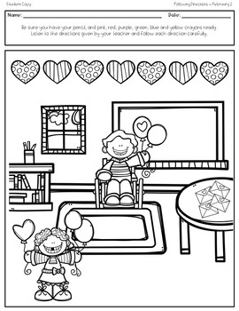 February Print 'N Go Following Directions Packet