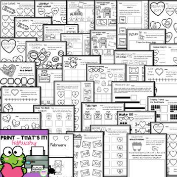 Kindergarten February Worksheets