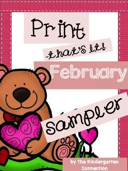 February Print- That's It! Kindergarten Math and Literacy Printables SAMPLER