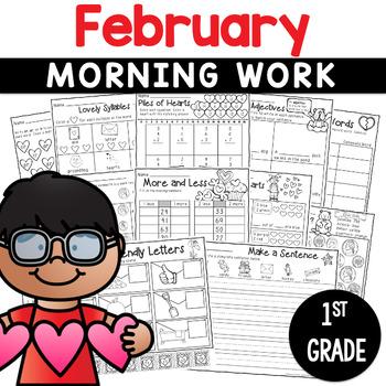 Printables February Print and Do- No Prep Math and Literacy 1st Grade