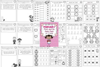February Print and Go Math Pack for First Grade