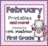 February Printables - First Grade Literacy and Math