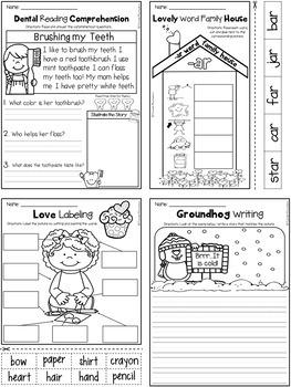 February NO PREP - Math & Literacy Printables (Kindergarten)