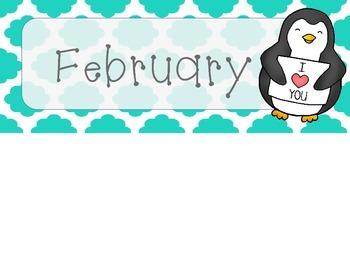 February Quatrefoil Calendar Set