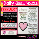 Valentines Day February Writing Prompts Quick Writes
