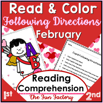 Read & Follow Directions Activities, February - Cupid, Washington, Lincoln
