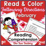 Read & Color to Follow Directions Activities February Cupid Washington Lincoln