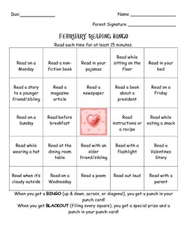 February Reading Bingo