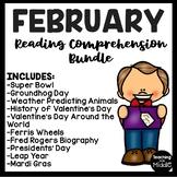 February Reading Comprehension Bundle Valentine Mardi Gras Presidents Day
