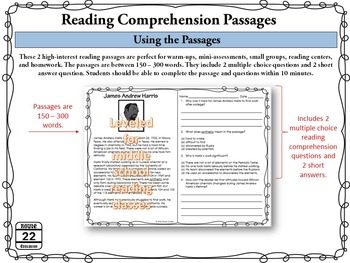 Middle School Reading Comprehension Passages for February