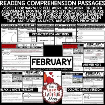February Reading Comprehension Passages 4th Grade, 3rd Grade & 5th Grade
