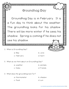 February Reading Comprehension Passages with Differentiation