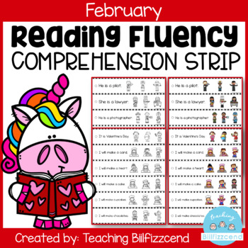 February Reading Fluency and Comprehension Sentence Strip