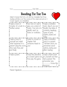 February Reading Homework Tic Tac Toe Reading Log