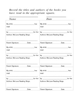 February Reading Incentive - Authors We Love Reading Bingo