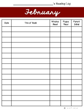 February Reading Log {Two Versions}