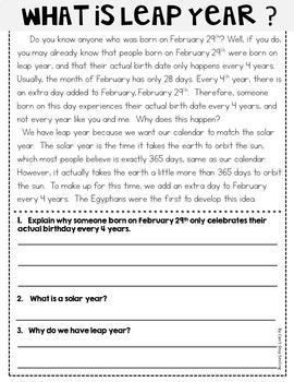 February Reading Passages ~ Nonfiction Reading Passages by Can't ...