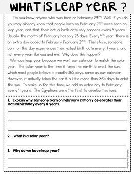 February Reading Passages ~ Nonfiction Reading Passages