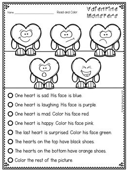 February Reading Printables - Read and Color