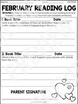 February Reading Response Logs (Grade 3)