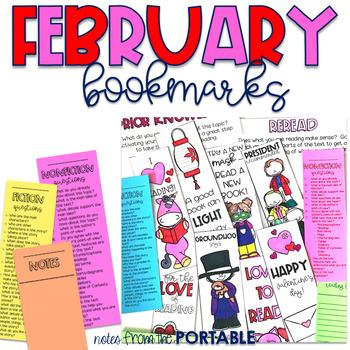 February Reading Strategy Bookmarks
