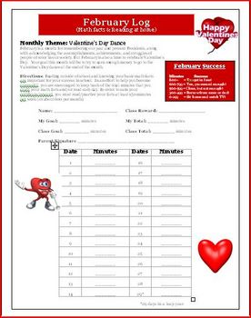 Valentine's Day Math and Reading Log for February