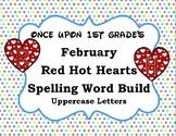 February Valentine's Word Work Spelling Word Build Alphabet - Uppercase Letters