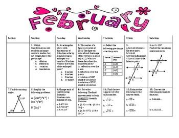 February Review Calendar 2017