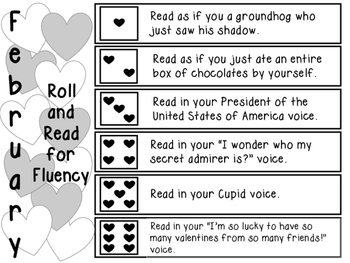 February Roll and Read for Fluency