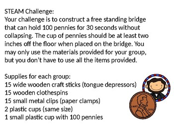 February STEAM STEM Bridge Building Challenge