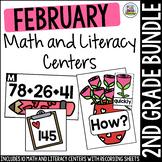 February Second Grade Math & Literacy Centers Bundle