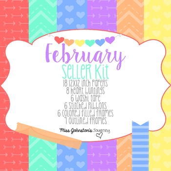 February Seller Kit {Clipart, Papers, Buntings, Frames}