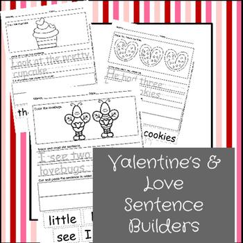 February Sentence Builders {Valentine's, President's & Groundhog's Day}