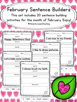 February Sentence Builders {morning work, word work, daily 5, & centers}