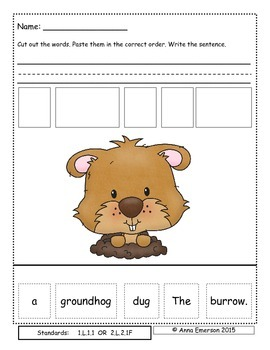 February Sentence Scrambles First or Second Grade