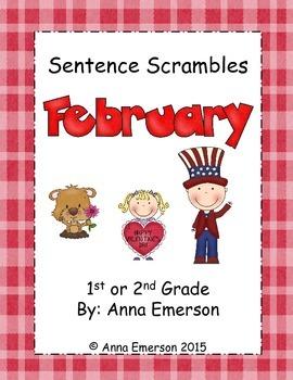 February Sentence Scrambles First or Second Grade