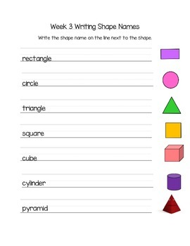 Shape Names & Attributes Math Station Week 3 & 4 K.G.4