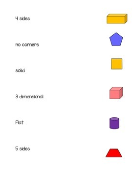 Shape Names & Attributes Math Station Week 3 & 4 K.G.4