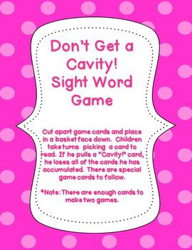 February Sight Word Game (Don't Get a Cavity)