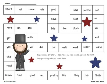 February Sight Word Pack (Differentiated for K-2)