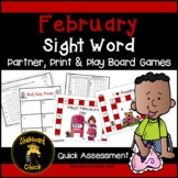 February Sight Word Partner, Print & Play Board Games and
