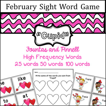 February Sight Word game - Fountas and Pinnell High Freque