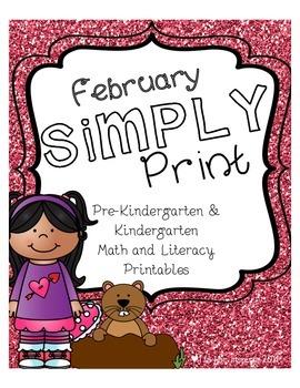 February Simply Print Pre-K & Kindergarten Math & Literacy Printables